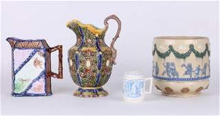 THREE ENGLISH CERAMIC PIECES AND A GERMAN PITCHER