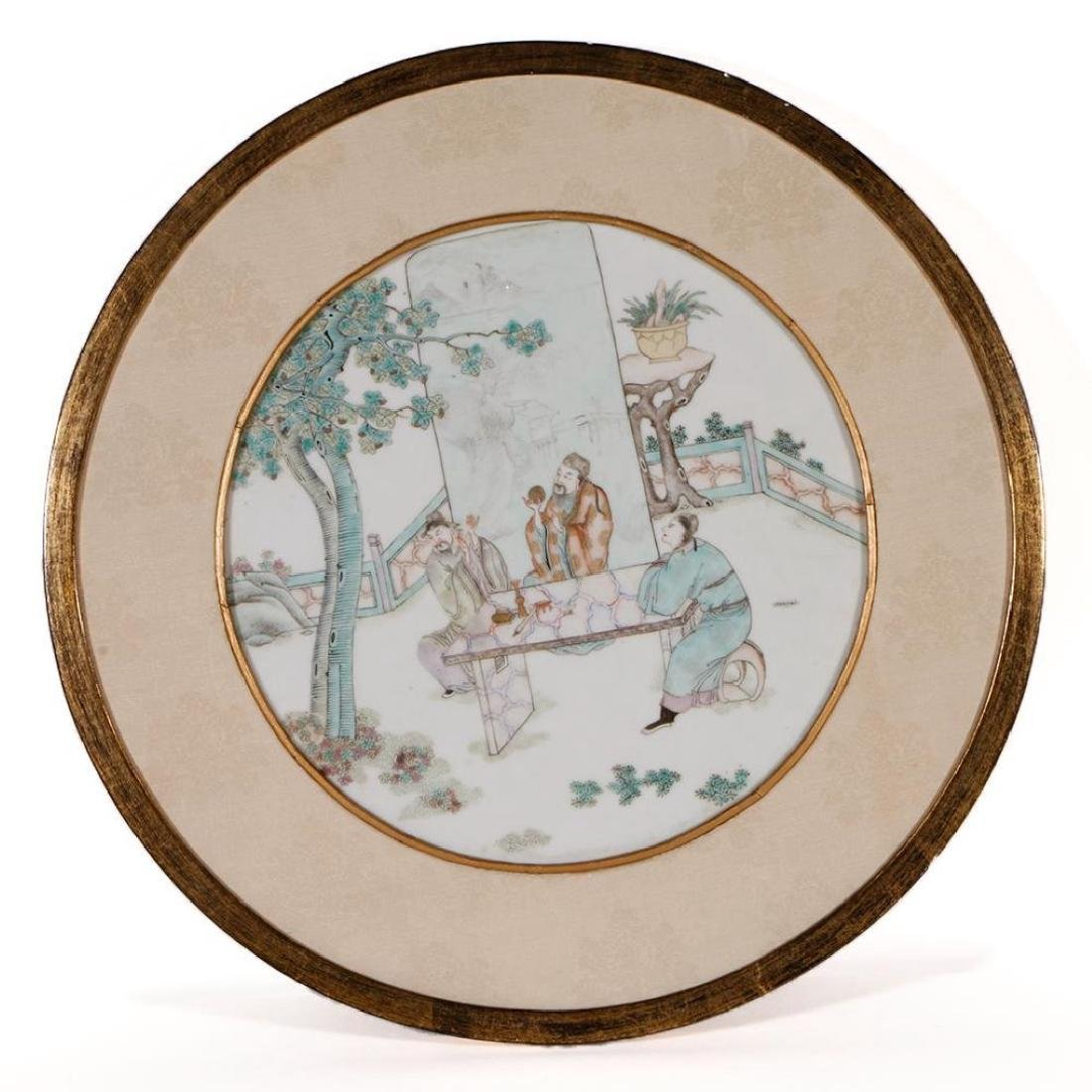 CHINESE CIRCULAR PAINTED TILE, QING DYNASTY