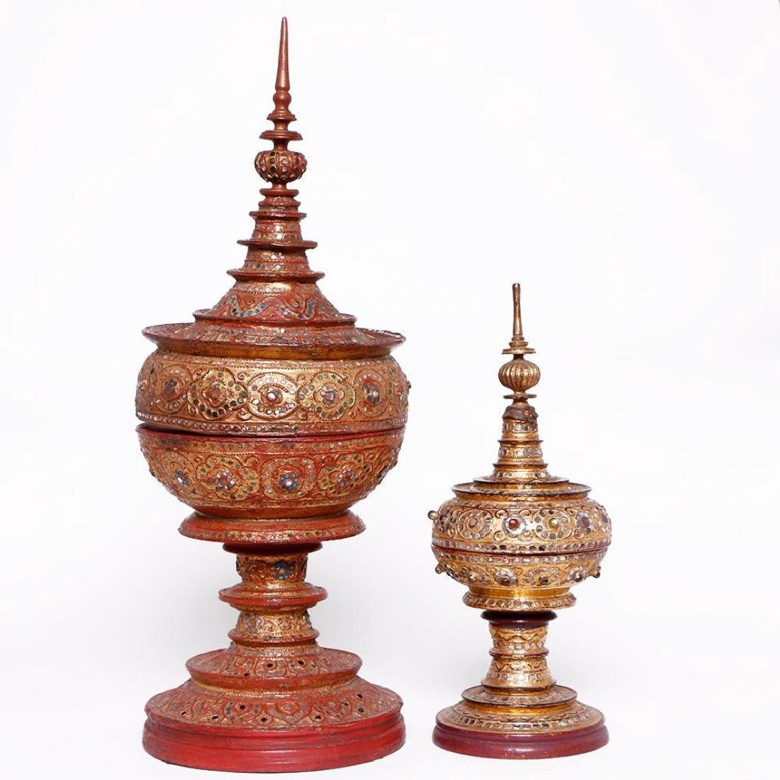 A SET OF BURMESE OFFERING VESSELS