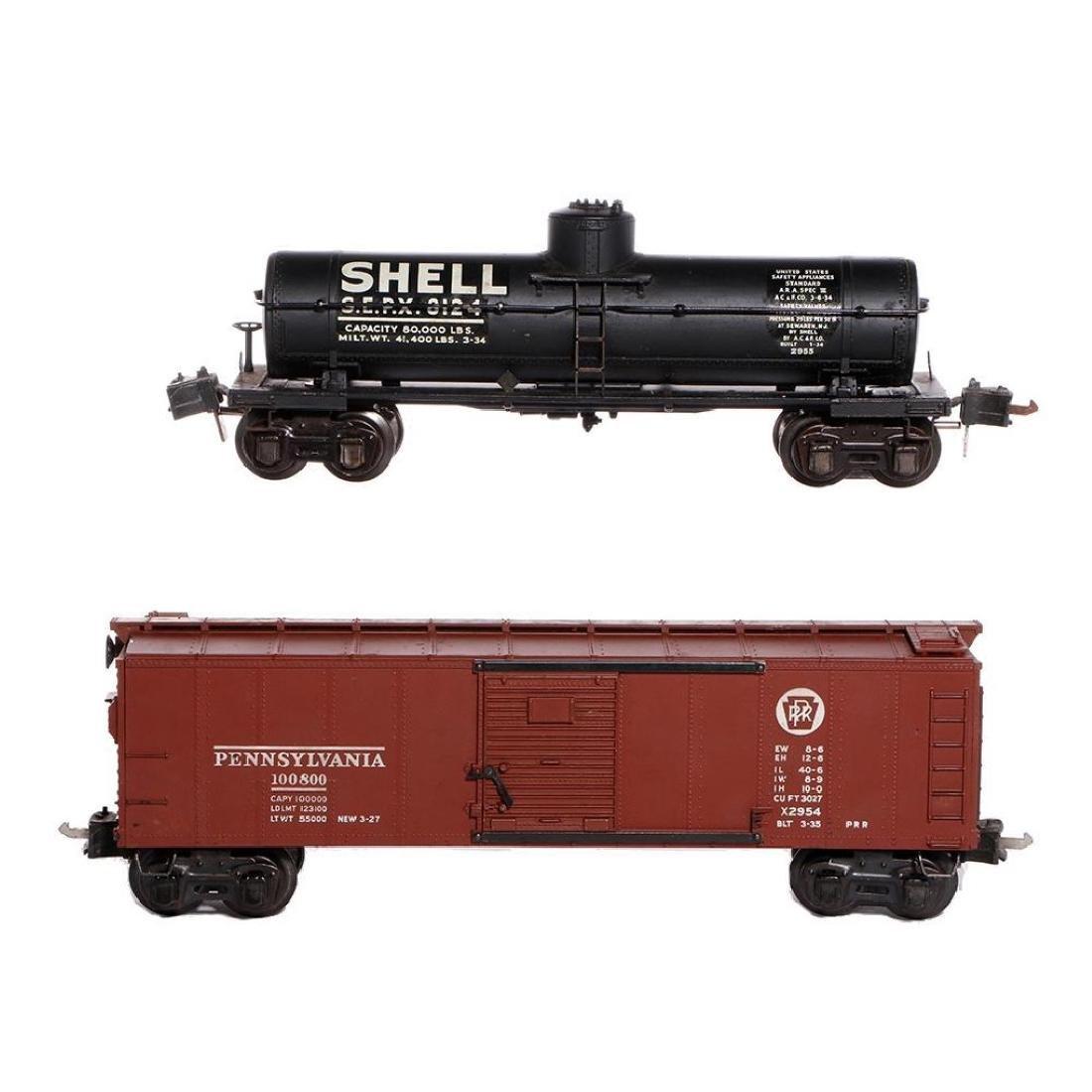 Lionel Prewar Semi-Scale 2955 SHELL TankCar+2954 Boxcar