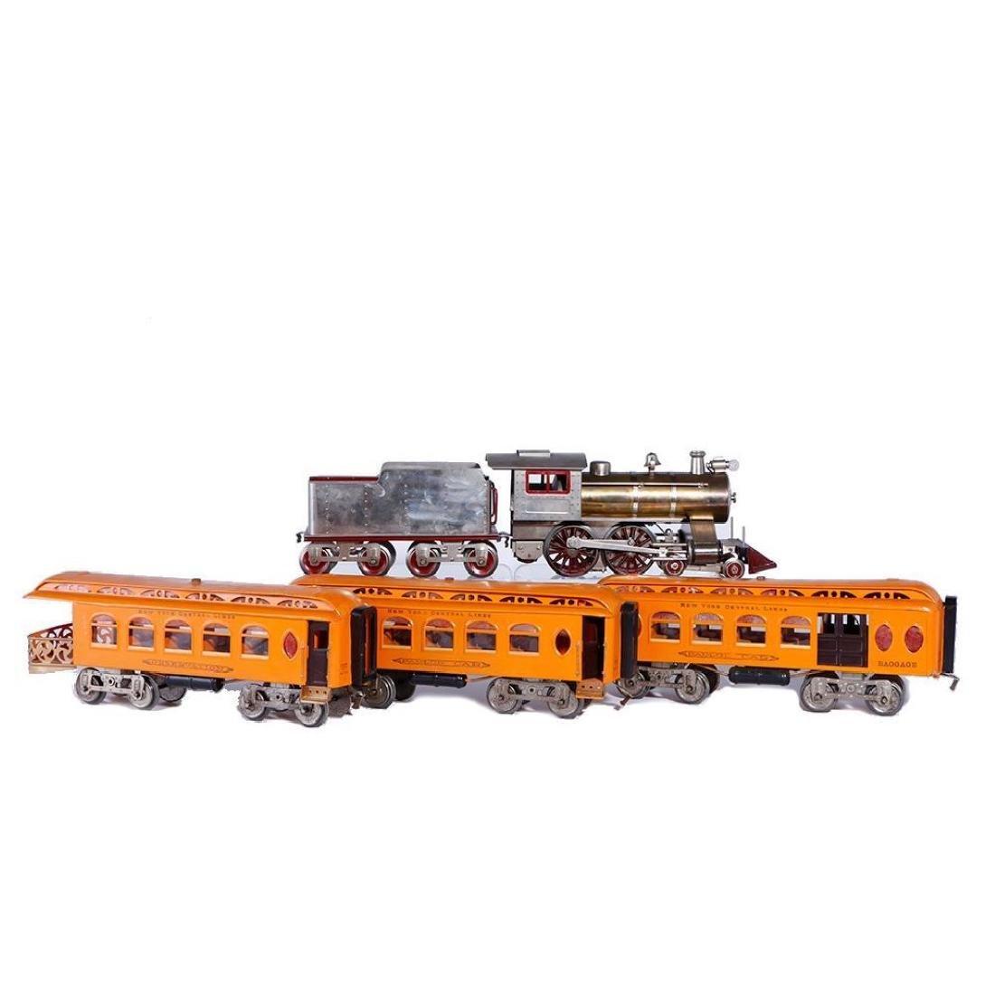 Lionel Std Gauge 7 Thin Rim Steam Loco with Orange Cars
