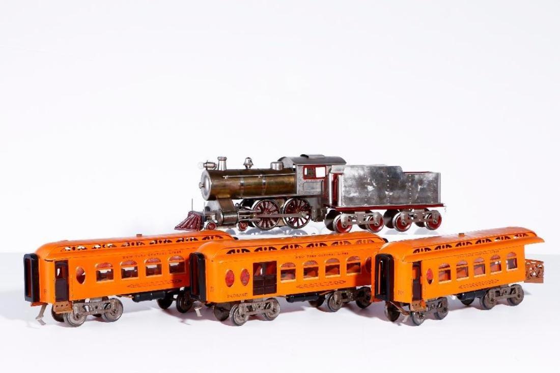 Lionel Std Gauge 7 Thin Rim Steam Loco with Orange Cars - 2