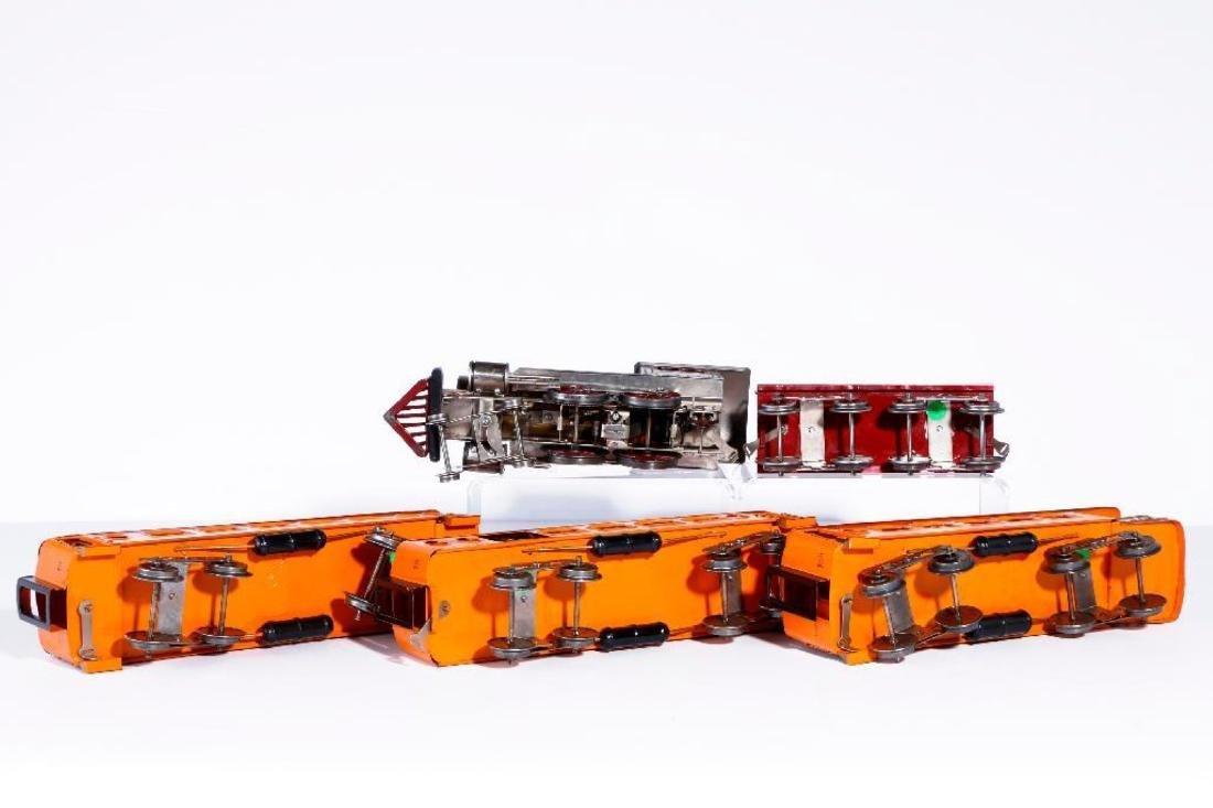 Lionel Std Gauge 7 Thin Rim Steam Loco with Orange Cars - 4