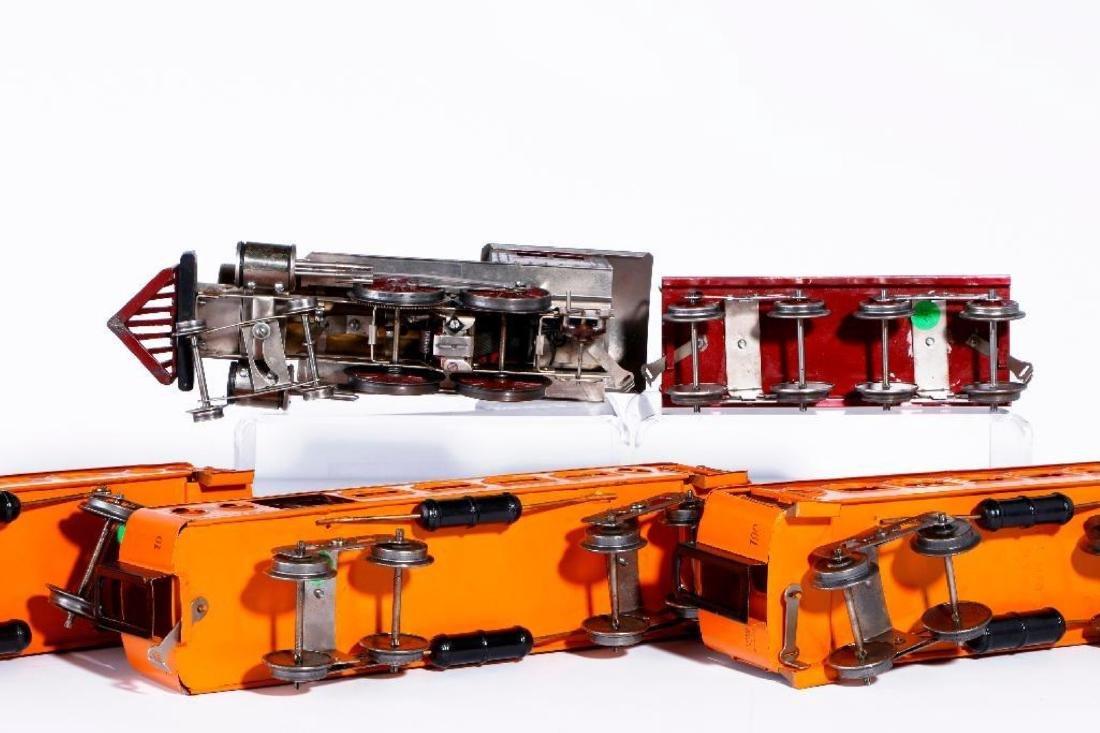 Lionel Std Gauge 7 Thin Rim Steam Loco with Orange Cars - 5