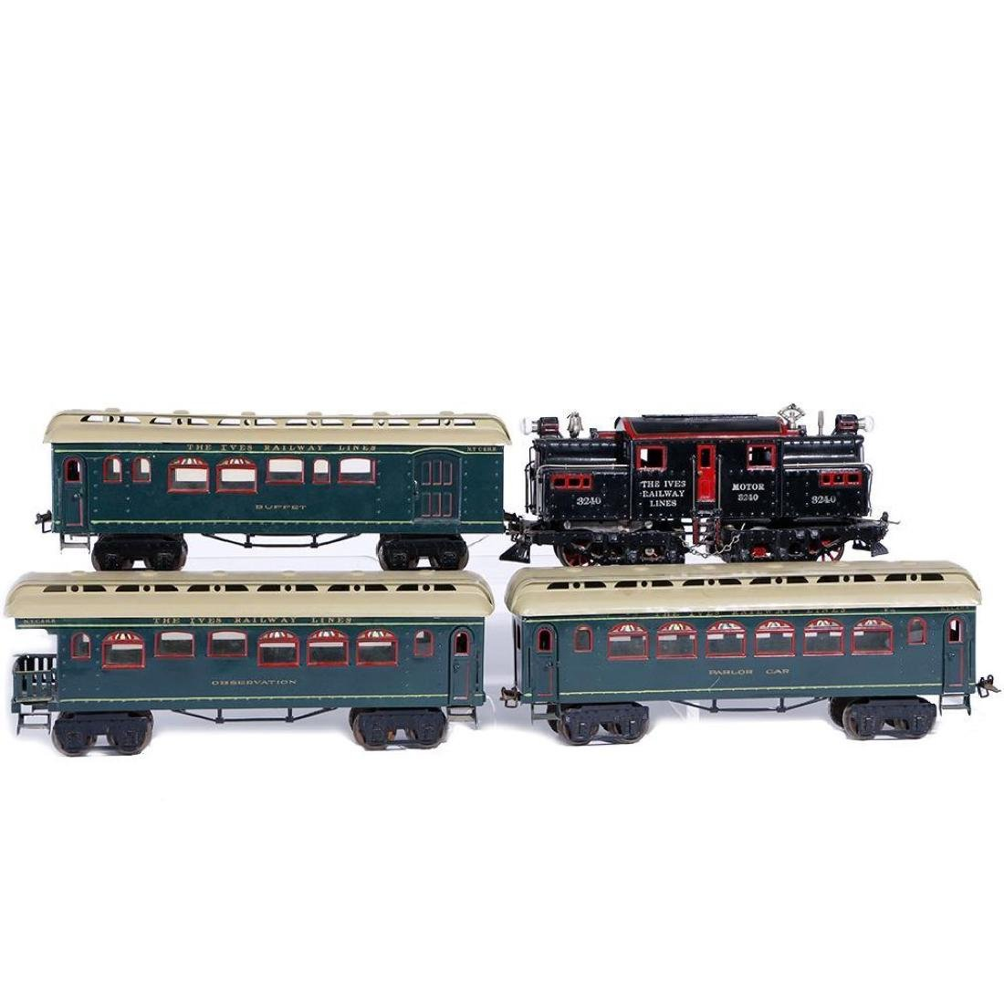 Ives #1 Gauge 3240 Locomotive with 3 Passenger Cars