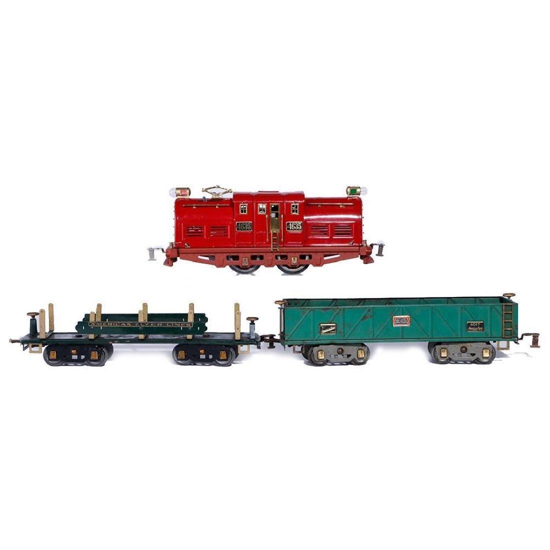 American Flyer Standard Gauge 4635 Locomotive, 2 Freigh