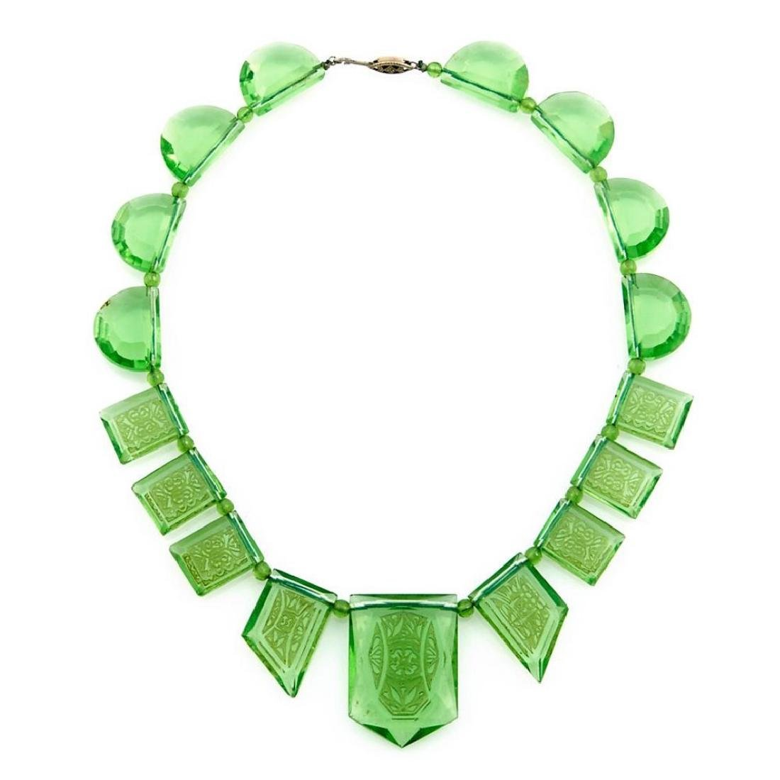 Rare art deco etched green glass necklace, circa 1920s