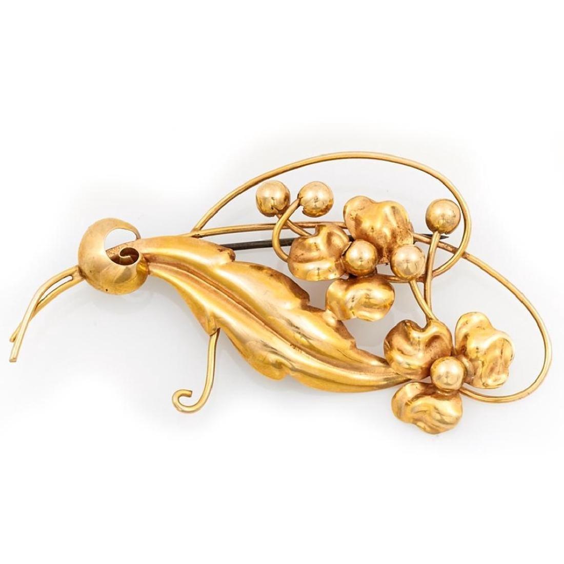 Retro 10k gold floral brooch, Rogel