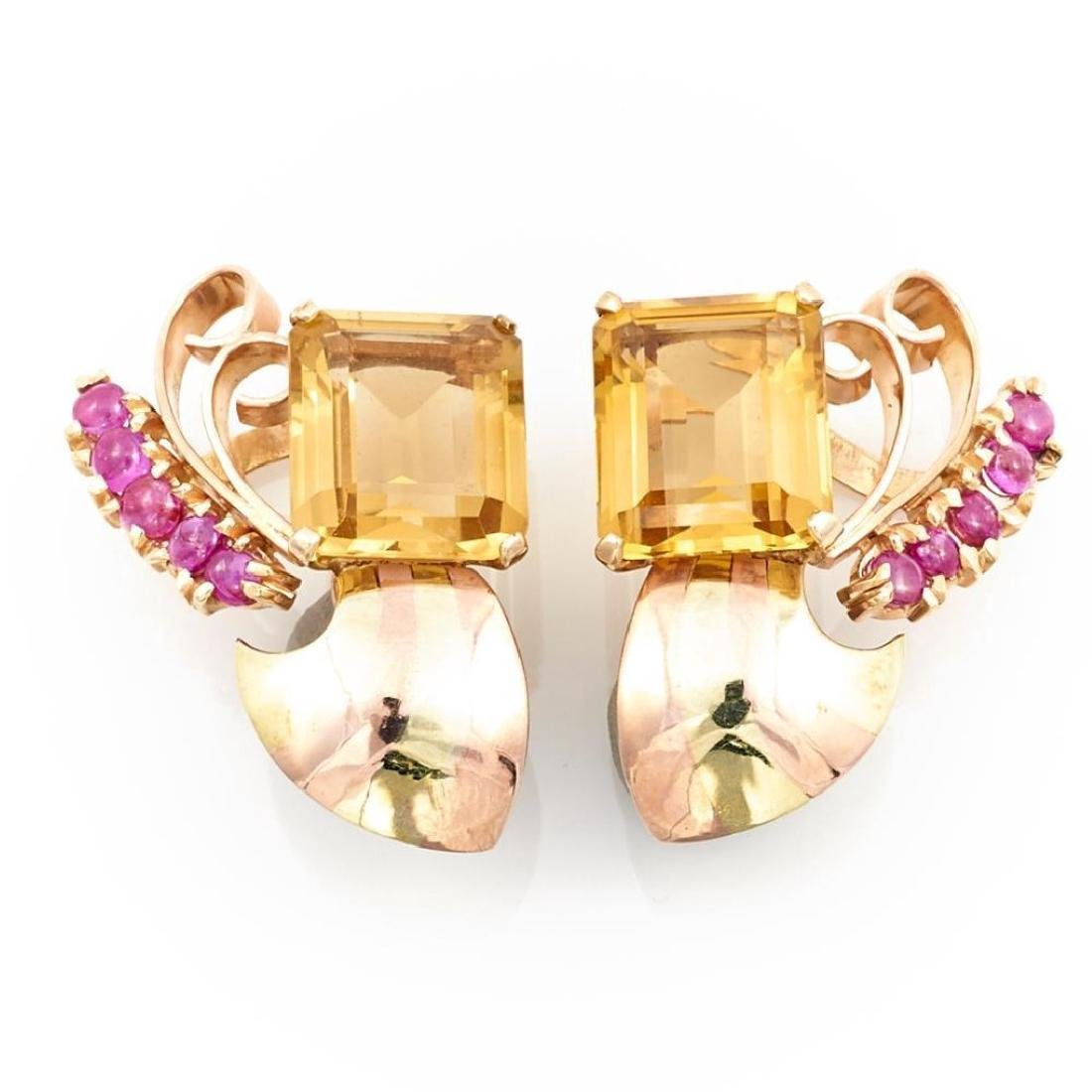 Citrine, ruby and 14k pink and yellow gold earrings