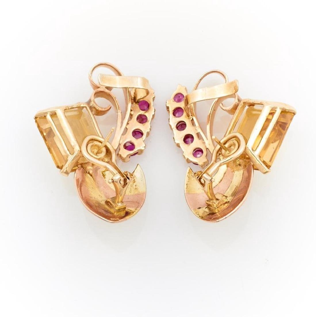 Citrine, ruby and 14k pink and yellow gold earrings - 2