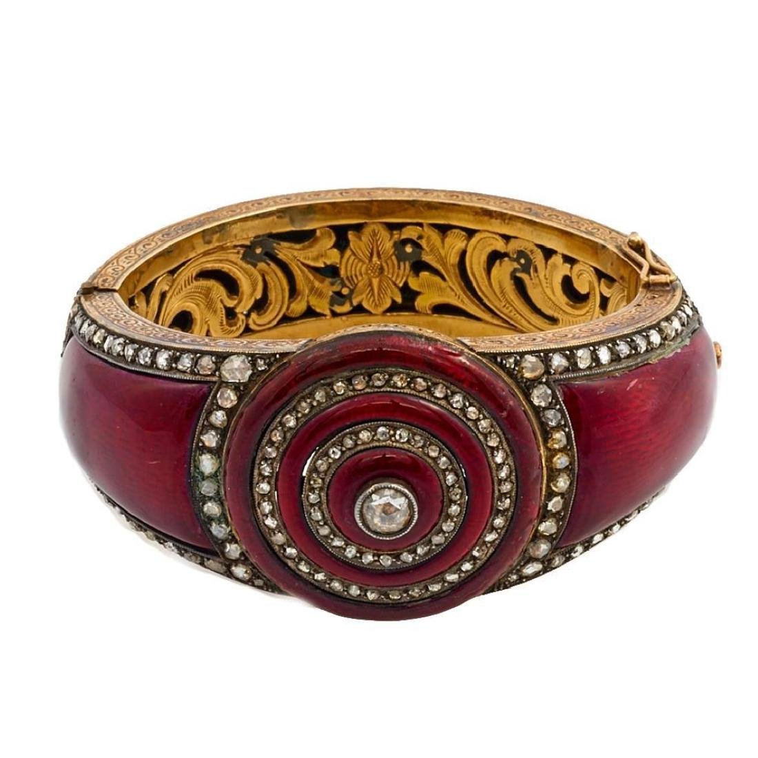 Rose-cut diamond, enamel & gilt silver bangle bracelet - 2