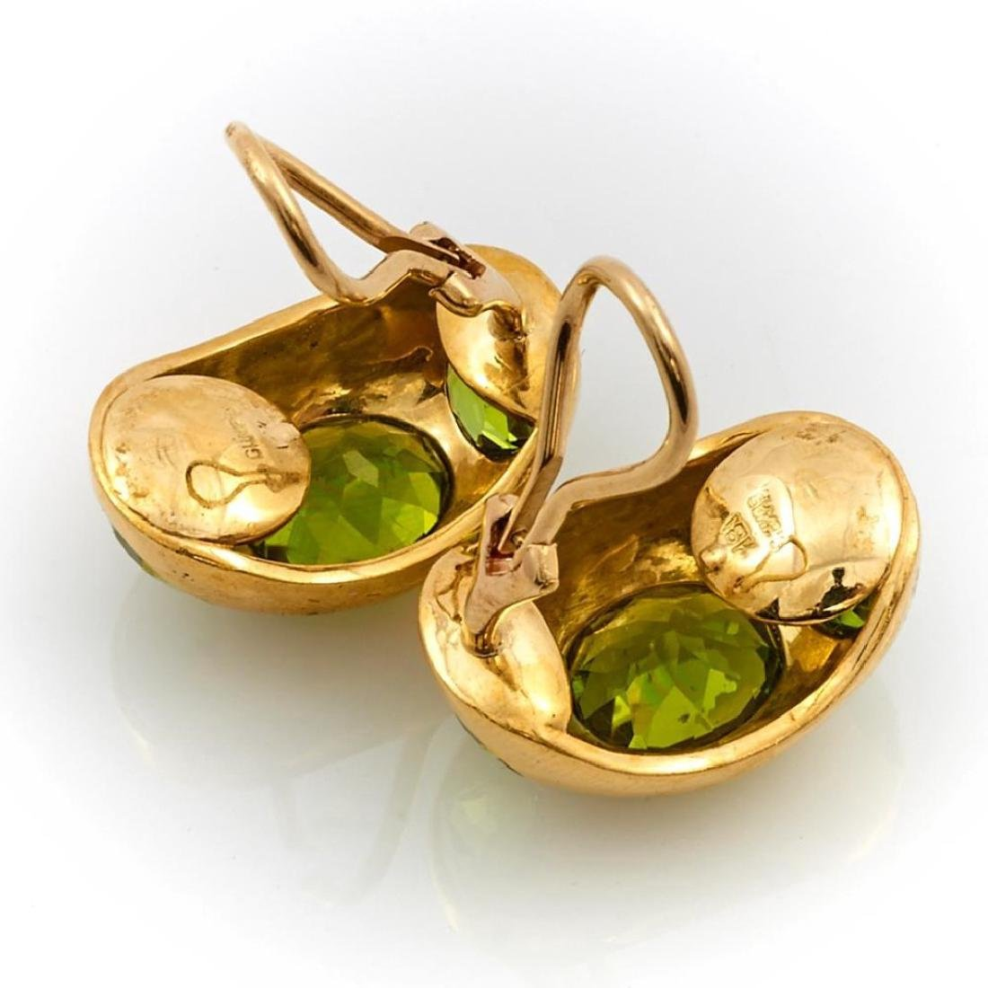 Pair of peridot and 18k gold clip earrings, Gumps - 2