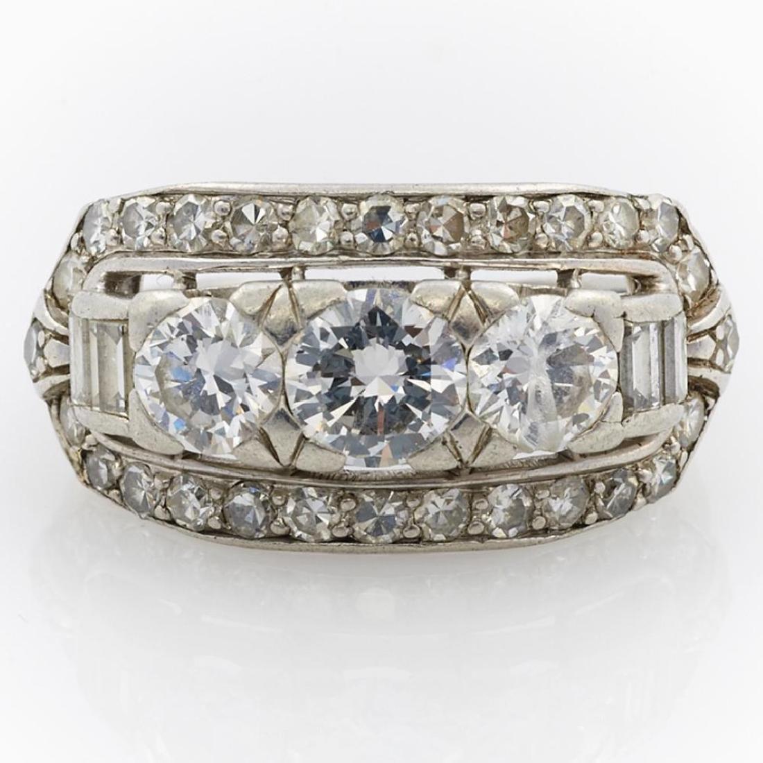 Diamond and platinum ring - 3