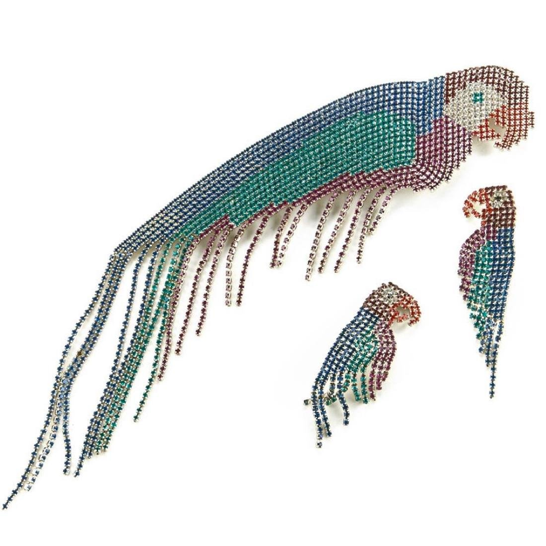 Bauer rhinestone parrot brooch and earring set