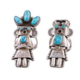 TWO SOUTHWEST TURQUOISE SILVER RINGS