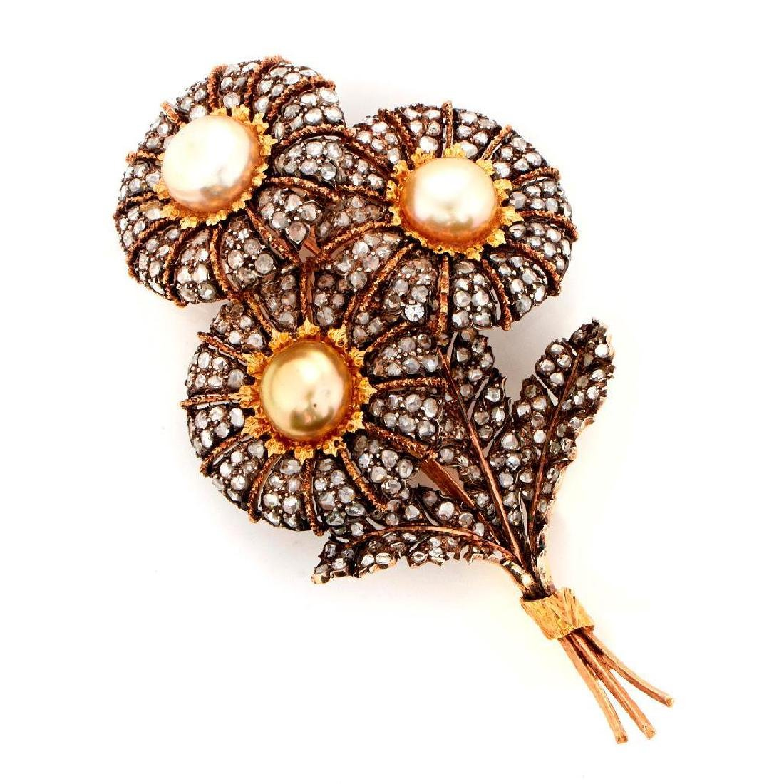 Cultured pearl, diamond,18k bicolor gold bouquet brooch