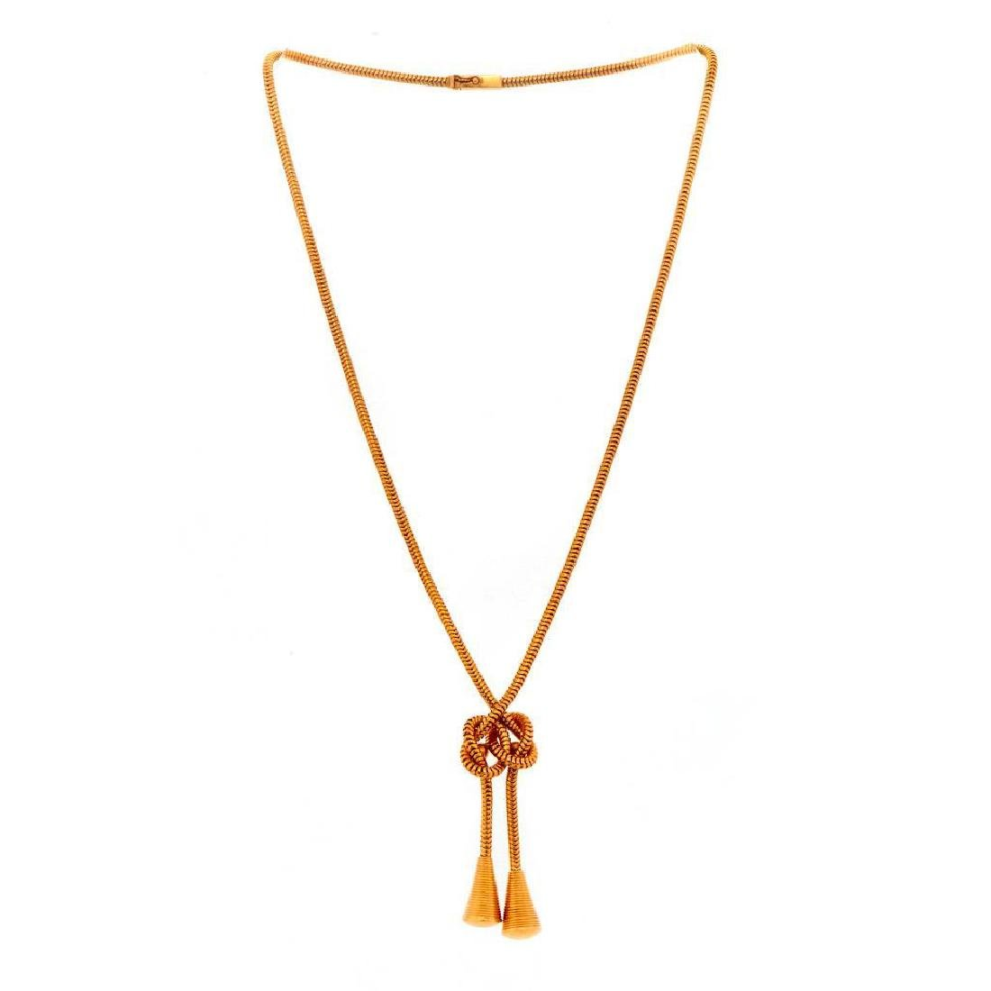 Retro 18k gold snake chain knot design necklace