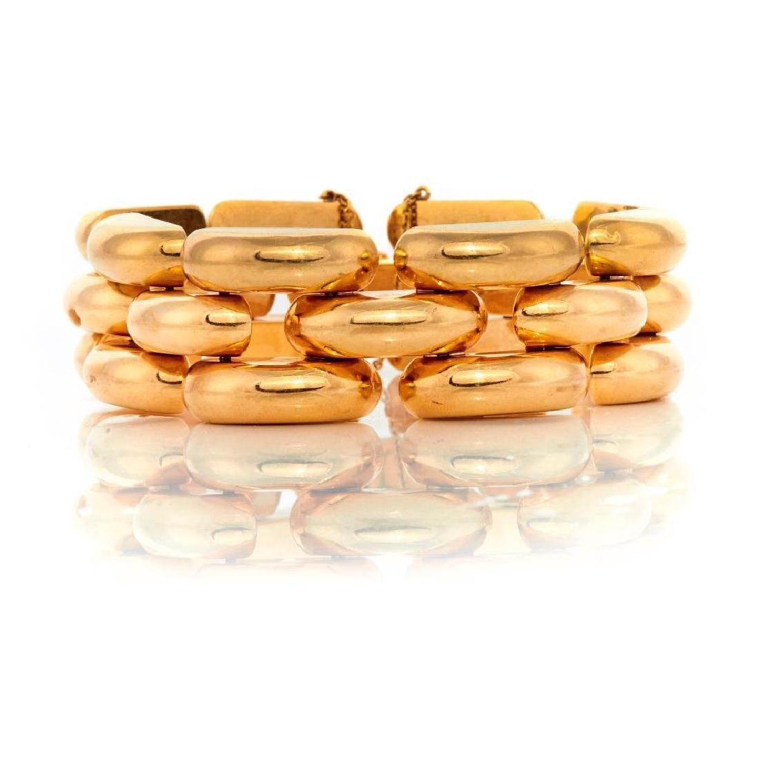 Retro 14k gold domed link bracelet