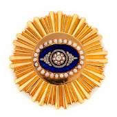 Diamond, half pearl, enamel, 14k gold clip brooch, ARK