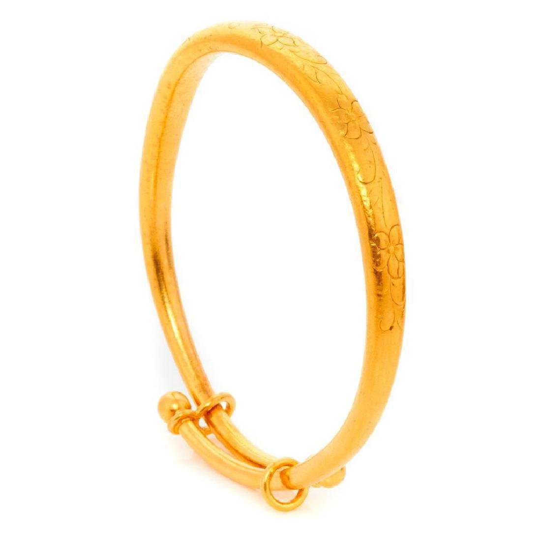 Chinese high karat gold bangle bracelet
