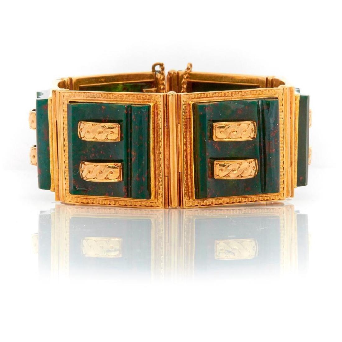 French bloodstone and 14k gold link bracelet