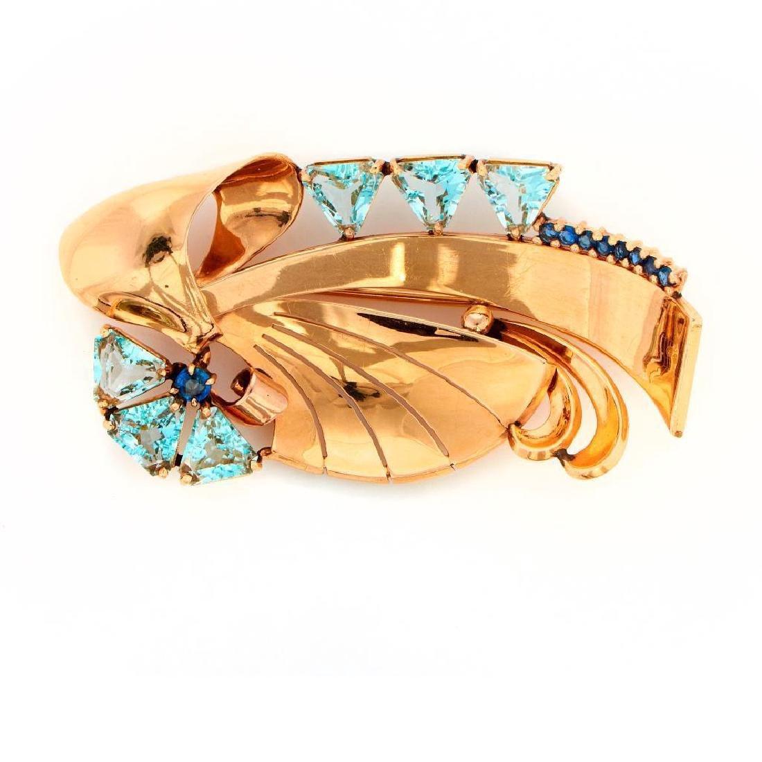 Retro aqua, sapphire, 14k gold brooch Carl D. Lindstrom