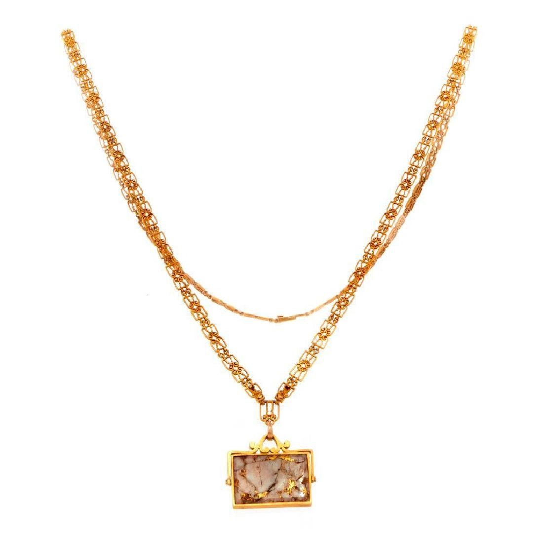 Gold-in-quartz, 14k gold watch fob and 18k gold chain