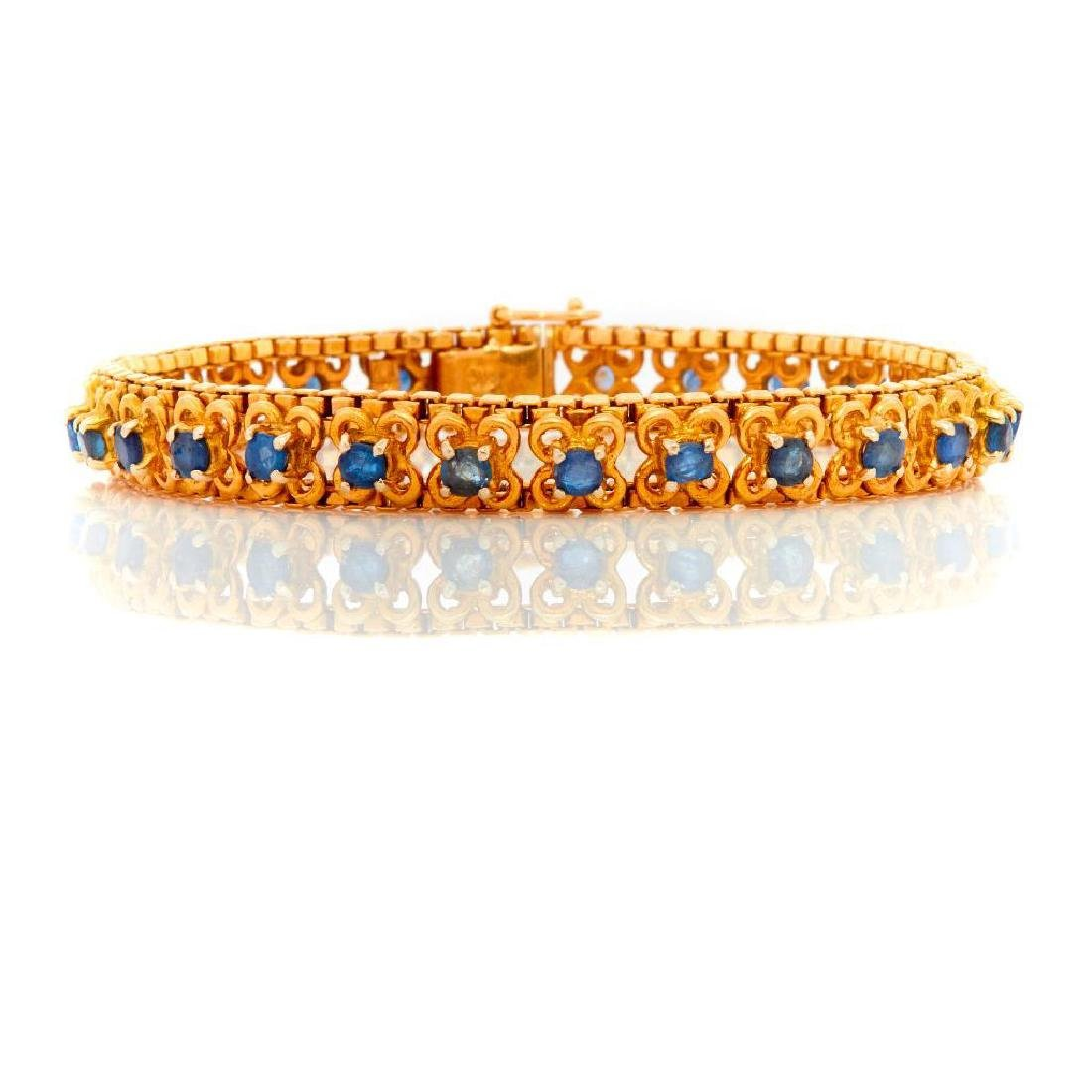 Sapphire and 18k gold bracelet