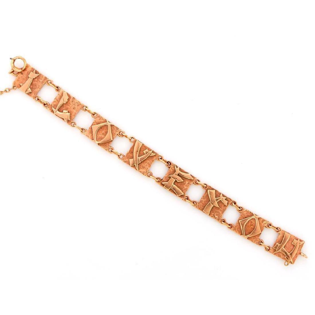"""14k gold """"I love you"""" link bracelet"""