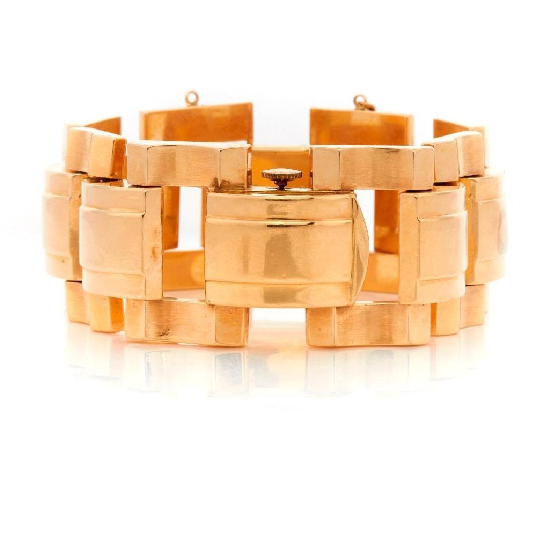 Retro 14k gold ladies covered wristwatch