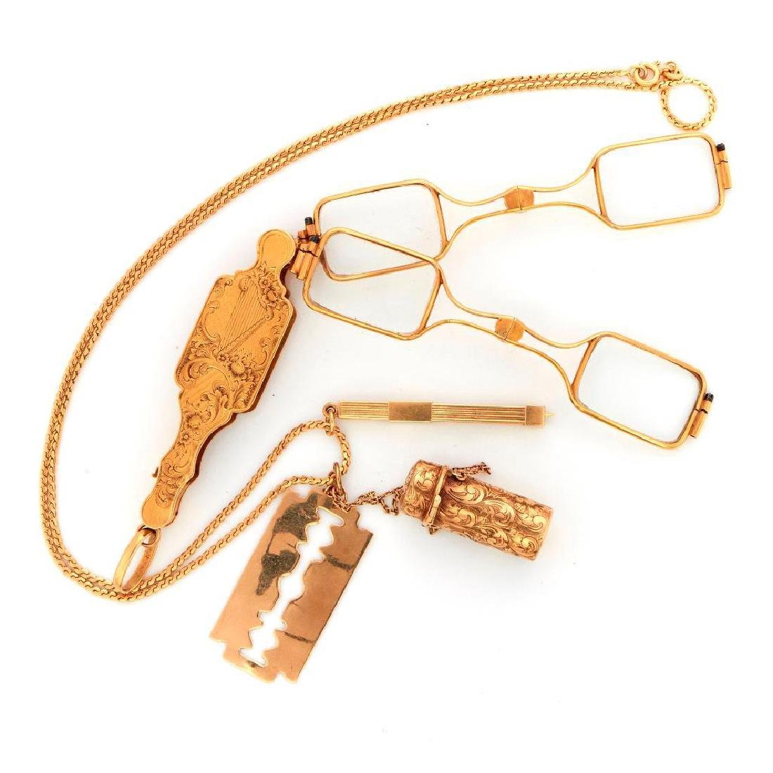 Antique 14k gold double lorgnette and necklace