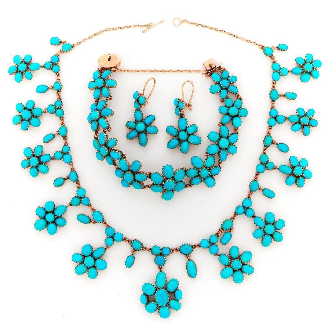 Turquoise and 14k gold jewelry suite