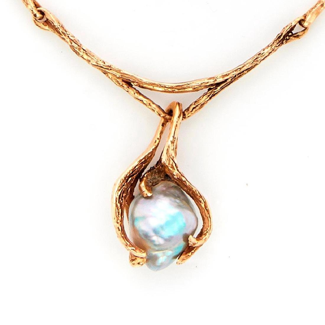 Baroque cultured pearl and 14k gold necklace