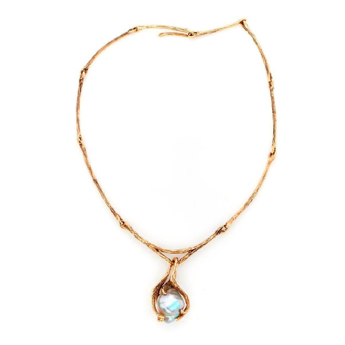 Baroque cultured pearl and 14k gold necklace - 2