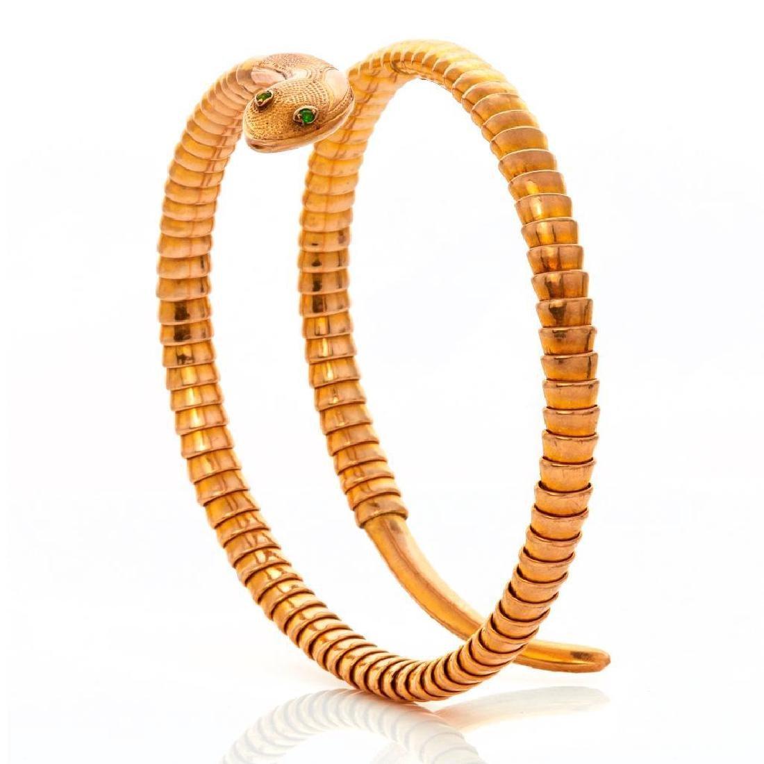 9k gold snake bracelet with sapphire eyes
