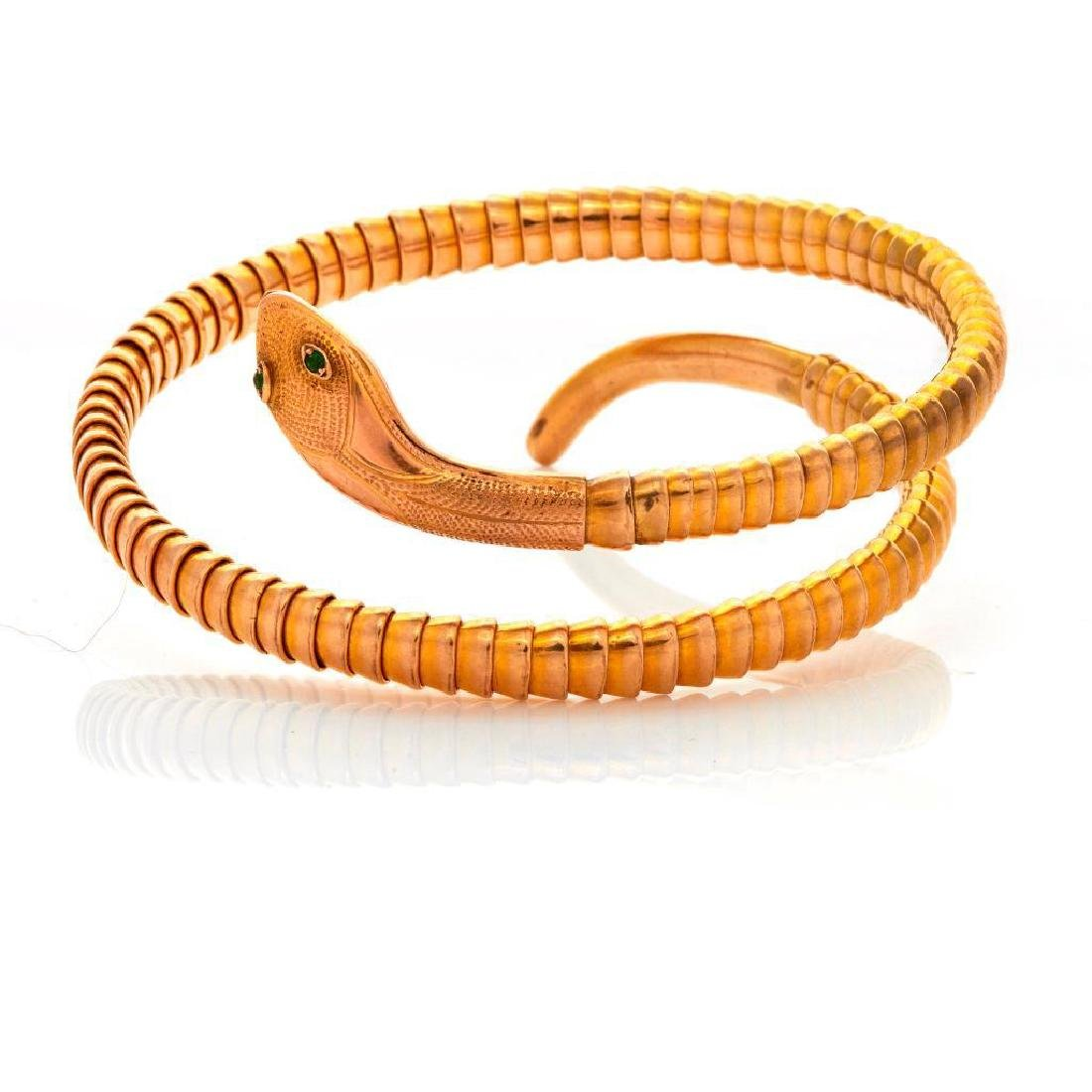 9k gold snake bracelet with sapphire eyes - 2