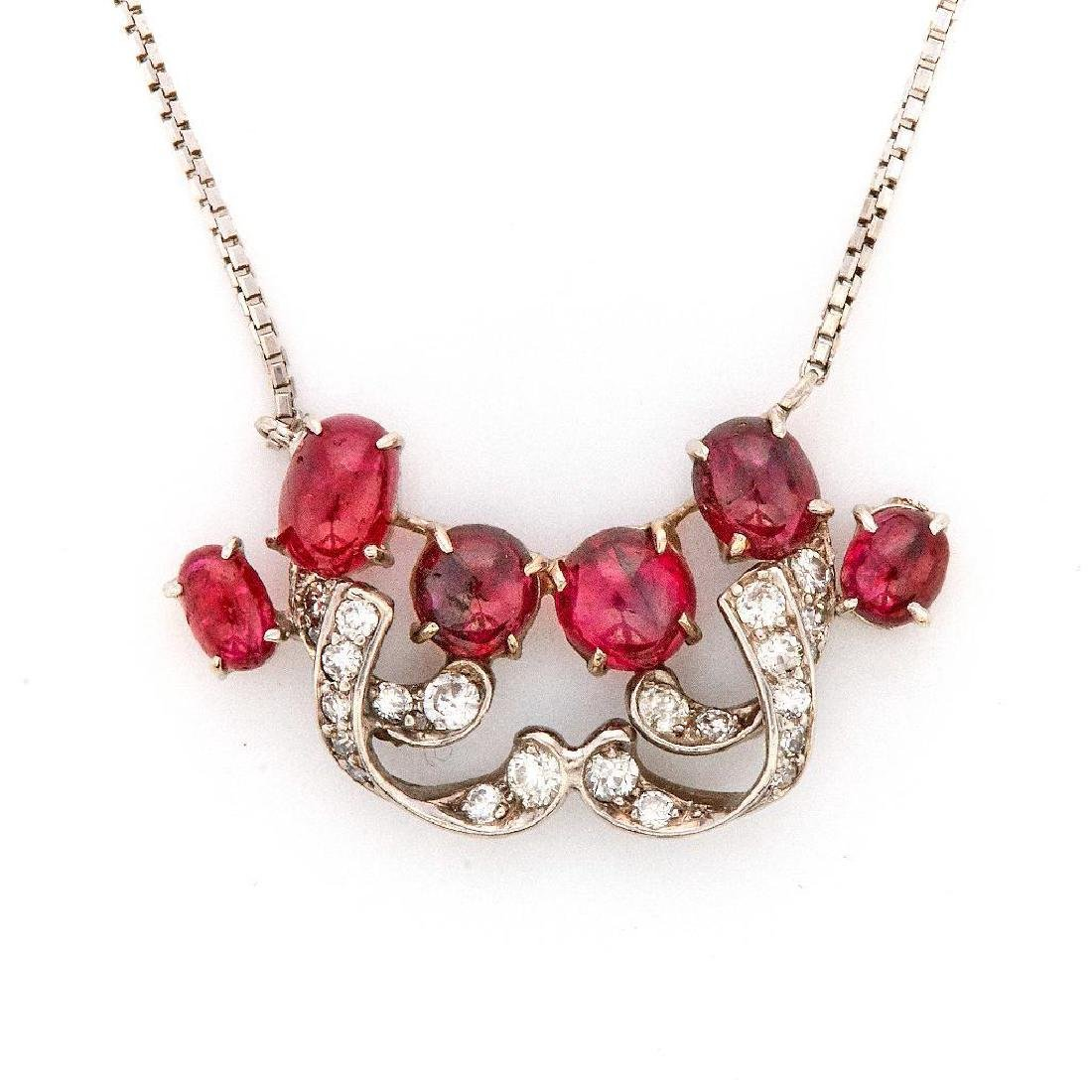 Ruby, diamond, platinum and 14k white gold necklace