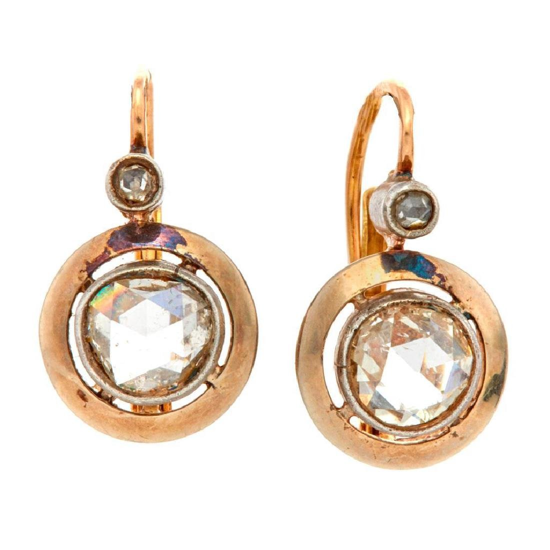 Pair of diamond, silver and 14k gold earrings