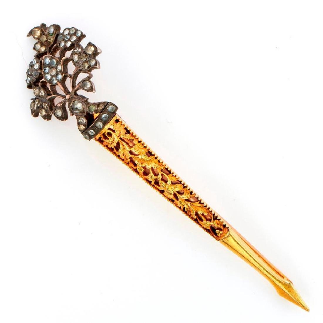 Silver-topped rose gold/14k yellow gold scabbard brooch