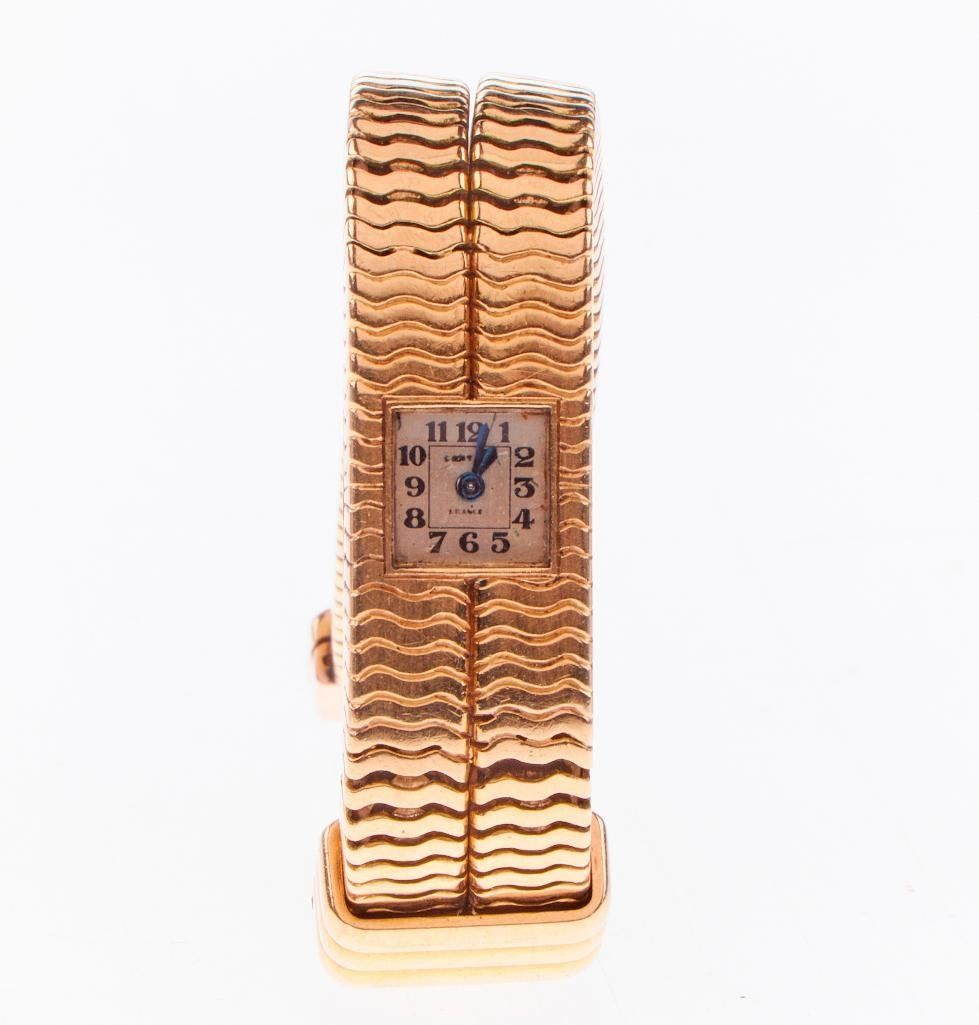 Cartier, French 18k gold ladies backwind wristwatch