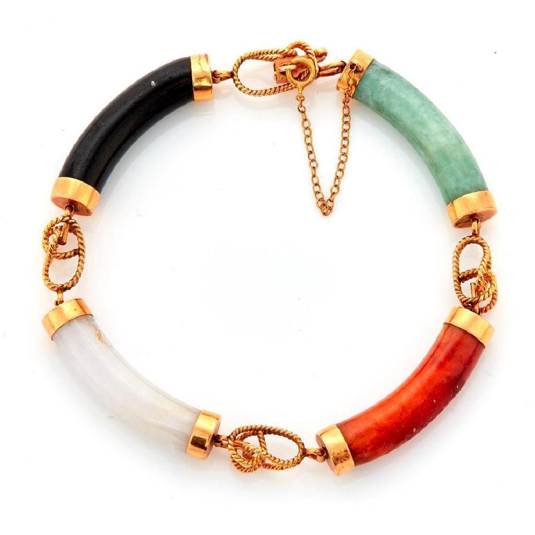 Multi-color jade and 14k gold bracelet