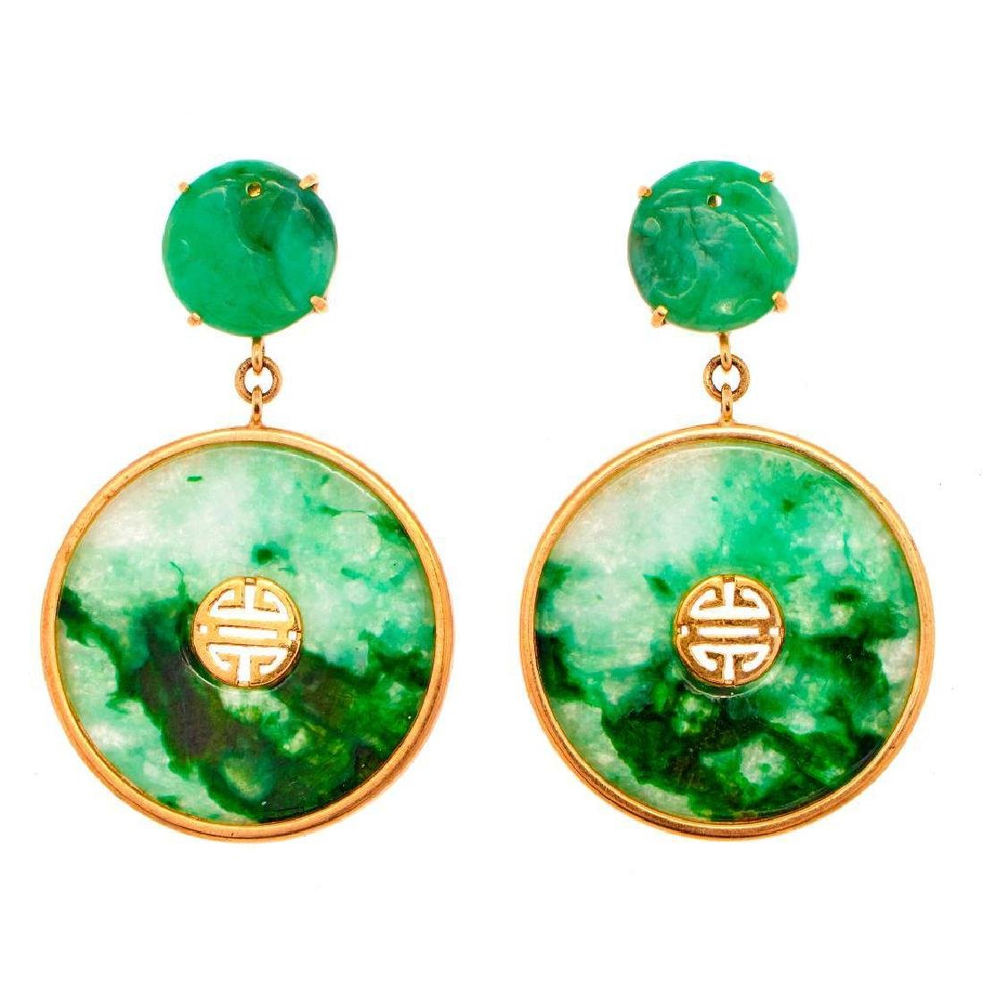 Pair of jade and 14k gold earrings