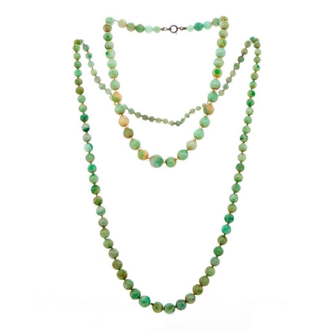 Art Deco jade, rock crystal rondel and silver necklace