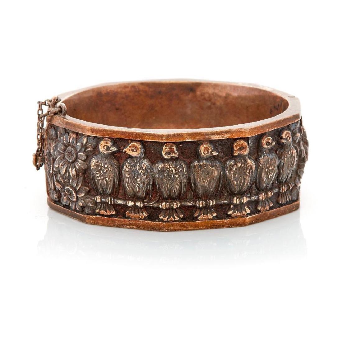 Unusual silver bangle bracelet, Topazio, Portugal