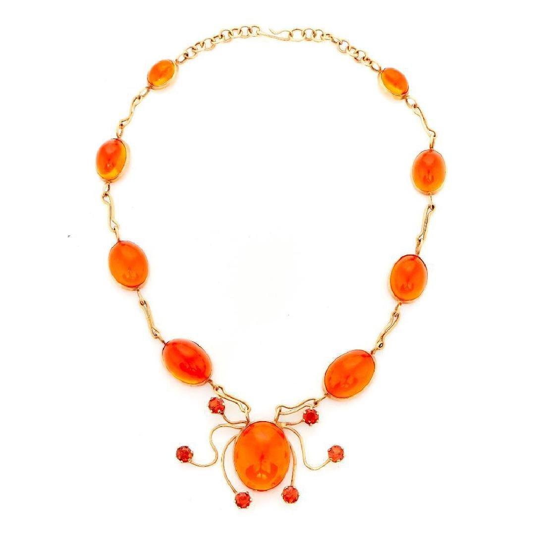 14k gold and orange stone necklace