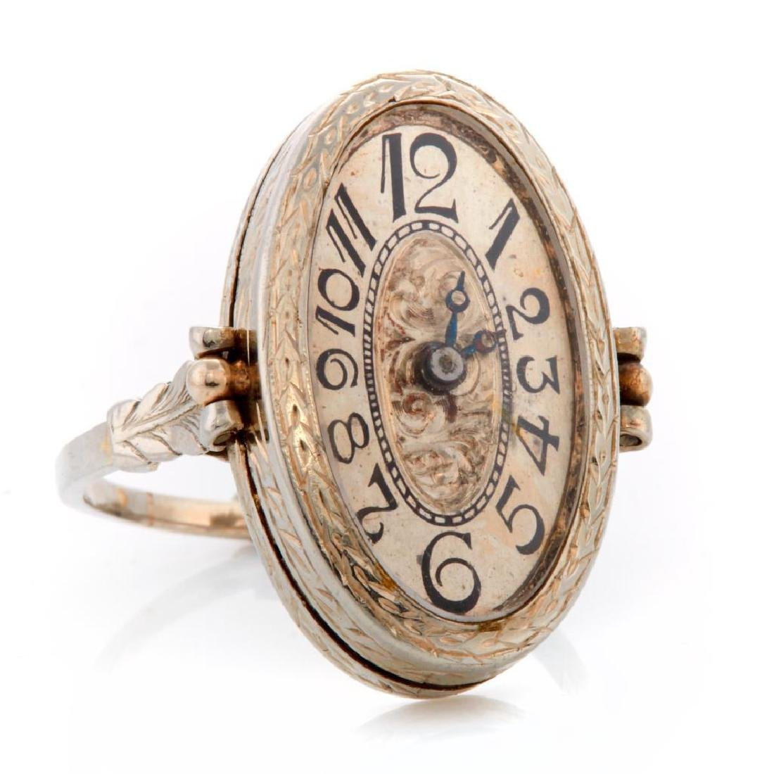 Art Deco Belais 18k white gold ring watch