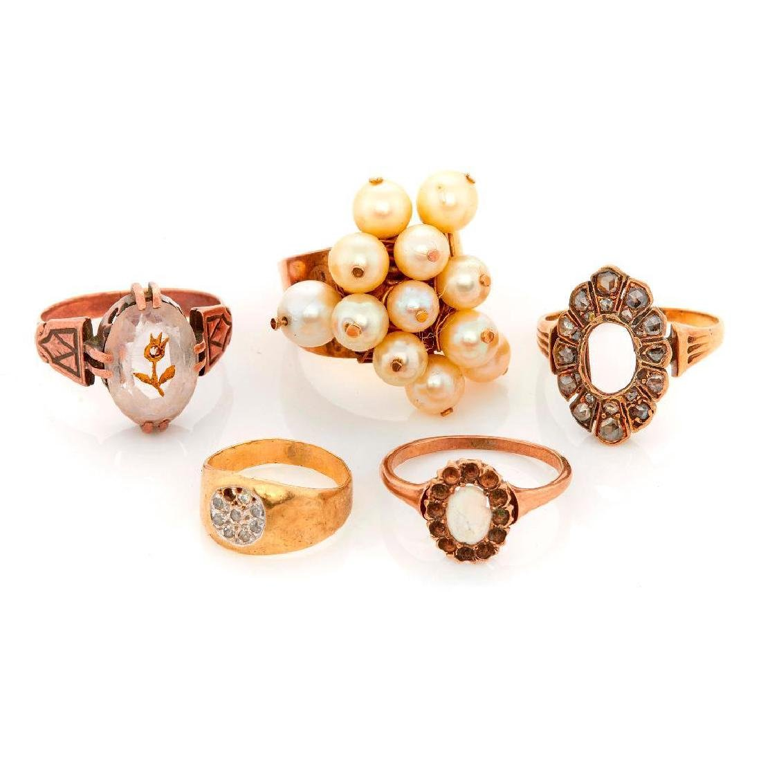 Collection of gem-set and gold jewelry