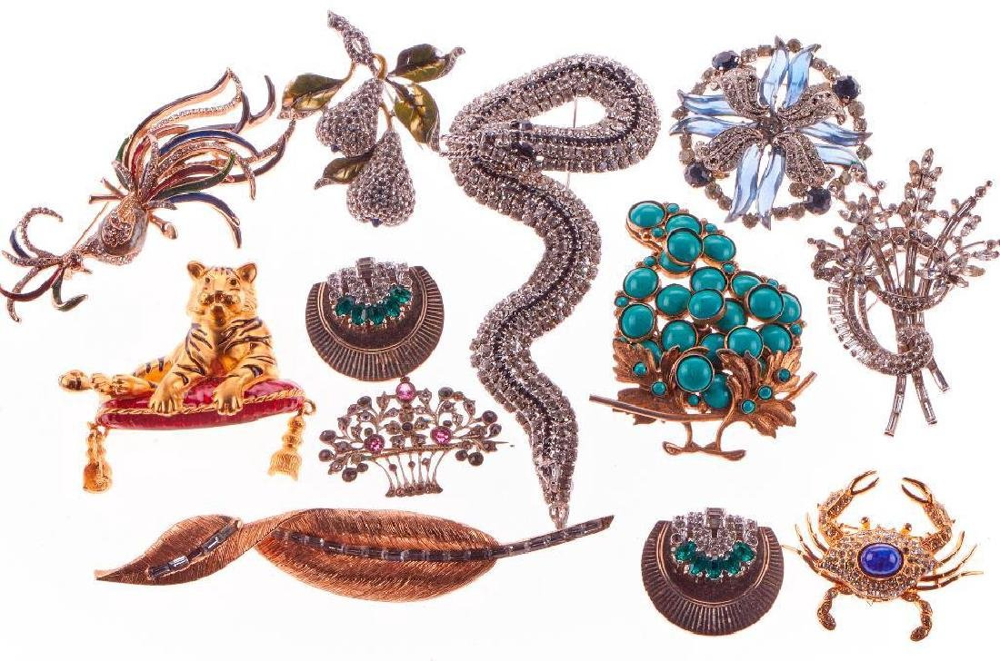 Vintage rhinestone and costume brooches