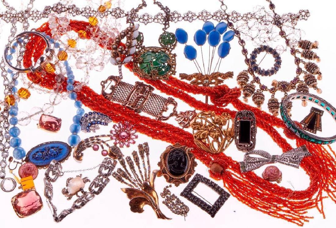 Vintage crystal, rhinestone, marcasite, silver