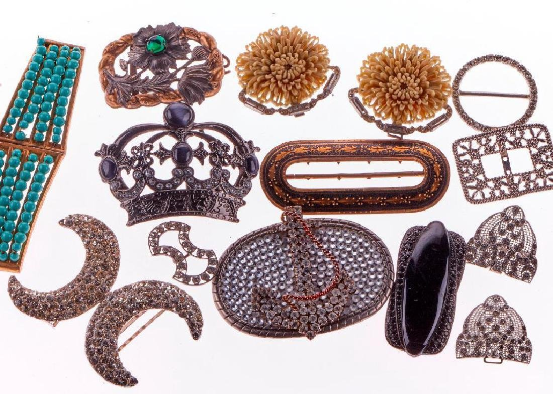 Collection of 16 vintage rhinestone and silver buckles